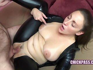 ChickPass - Buxom brunette Melanie Hicks fucks in her black catsuit
