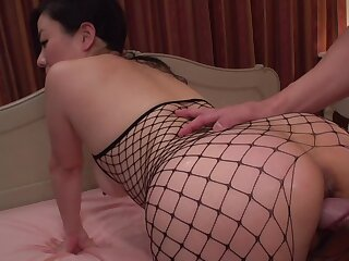 Japanese MILF in fishnet bodystocking penetrated in unalike poses
